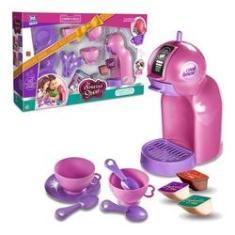 Imagem de Kit Cozinha Cafeteira Infantil Brinquedo Cápsulas Utensílios