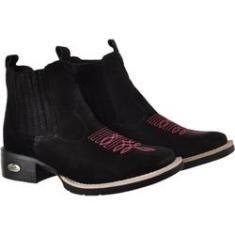 Imagem de Bota Botina Feminina Texana Pessoni Boots Couro Cano Curto