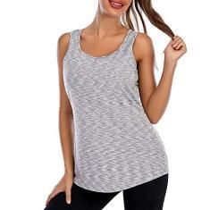 Imagem de Camiseta feminina de treino sem mangas em volta do pescoço solto e com sutiã ativo para ioga, corrida, esportes, fitness