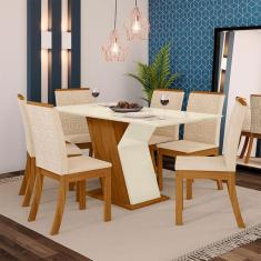 Imagem de Conjunto Sala De Jantar Mesa Tampo Mdf 6 Cadeiras Kesha Casa 812