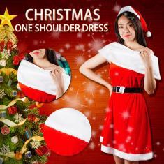 Imagem de Vestido feminino  natalino de veludo  e de férias com um ombro