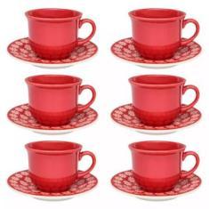 Imagem de Jogo de Xícara de Chá Floreal Renda com Pires 12 Peças Oxford