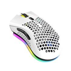 Imagem de Btuty Mouse sem fio com plugue receptor USB Ergonômico óptico RGB Iluminado Mouse 3 níveis DPI com roda de rolagem 2 botões de polegar Embutido 400mAh Bateria recarregável de alta capacidade para