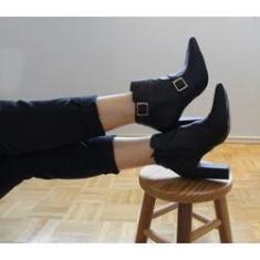 Imagem de Bota Cano Curto Com Fivelas Boot Salto Quadrado