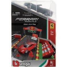 Imagem de Brinquedo Playset Colecionável Ferrari Race E Play Open And Play - Acompanha Miniatura Mini Carro Carrinho Conversível Prata Escala 1:43 - Burago