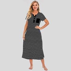 Imagem de Eastdall Dividido,Camisolas femininas Vestido longo listrado de manga curta macia solta pijama casual de comprimento total