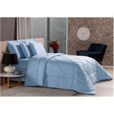Imagem de Edredom Dupla Face King Plumasul Premium em Percal 100% Algodão 250 Fios 280X260 cm –  Blue