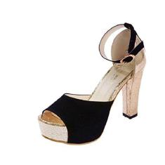 Imagem de Sandália feminina de camurça Gaorui fashion sexy sapato peep toe plataforma ouro salto alto salto alto, , 8