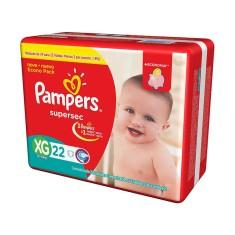 Fralda Pampers Supersec Tamanho XG Econômica 22 Unidades Peso Indicado 12 - 15kg