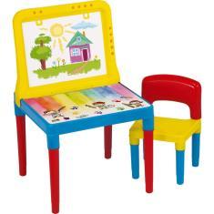 Imagem de Mesinha Infantil Bell Toy Mesa Lousa Do Pequeno Artista - 1 Cadeira - Colorida