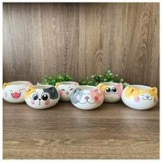 Imagem de Kit 6 Vasos Gatinhos Porcelana Cachepot Vasinhos S/ Plantas