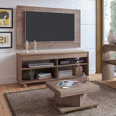 Imagem de Conjunto para Sala de Estar com Rack com Painel e Mesa de Centro Canela Espresso Móveis Canela