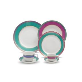 Aparelho de Jantar Redondo de Porcelana 42 peças - Flamingo Jóia Brasileira Oxford Porcelanas