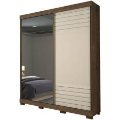 Guarda-Roupa Solteiro 2 Portas 3 Gavetas com Espelho Bia Panan Móveis
