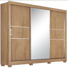 Guarda-Roupa Casal 3 Portas Gavetas com Espelho Maranello Europa Móveis
