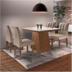 Imagem de Conjunto Sala de Jantar Mesa Sevilha I Tampo de Vidro 4 Cadeiras Vitoria Cel Móveis Chocolate/Pena 84