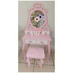 Imagem de Penteadeira Coração Infantil com 4 gavetas - Rosa com Gavetas Brancas