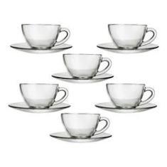 Imagem de Jogo com 6 Xícara para Café com Pires de Vidro 90ml
