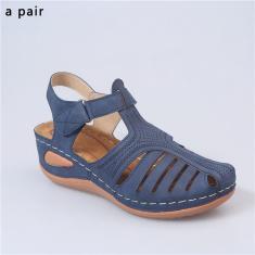 Imagem de Sandálias femininas retrô verão 2020 sapatilhas com furo anti-derrapante grande redondo