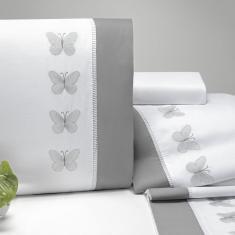 Imagem de Jogo De Cama Queen Papillons 4 Peças 200 Fios Percal Casaborda