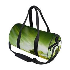 Imagem de Bolsa esportiva esportiva verde árvore viagem academia bolsa de ombro bolsa de mão para homens e mulheres, crianças, meninos e meninas