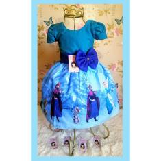 Imagem de Vestido Infantil tema Princesa Gelo Escuro