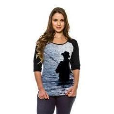 Imagem de Camiseta Raglan Pesca Esportiva Blue Manga ¾
