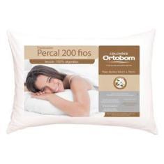 Imagem de Travesseiros Ortobom Super em Fibra Siliconizada Percal 200 Fios 50 x 70 cm s - 4 Unidades