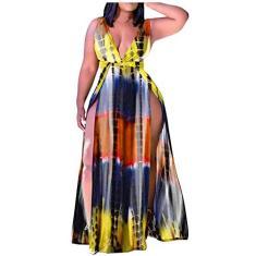 Imagem de Vestido feminino casual de verão com decote em V, solto, sem mangas, floral, plus size, saída de praia com bolsos, , XXG