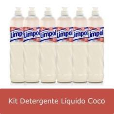 Imagem de Kit 6 Detergente Líquido Limpol Coco 500ml