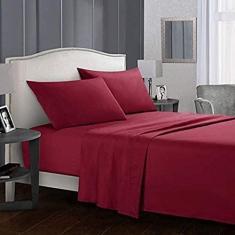 Imagem de WSMKSZ Jogo de lençol de cor lisa 4 em 1 lençol de elástico fronhas lençol de cima colcha roupas de cama (sem enchimento/capa dentro), patchwork s (cor:  Tamanho: 4 peças King)