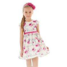 Imagem de Vestido Infantil Em Tafetá Acetinado Creme Com Flores Pink Hello Kitty