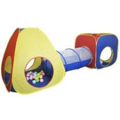Imagem de Barraca Infantil Toca Túnel 3x1 Dobrável com Bolinhas Menino Menina Cabana Colorida Brinqway BW-067