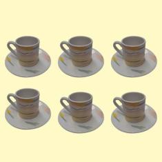 Imagem de Conjunto De 6 Xícaras Café C/ Pires Cerâmicas 85ml Estampada - Clink