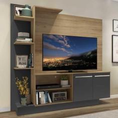 """Imagem de Estante c/ Painel TV 55"""" e 2 portas Denver Multimóveis Rustic/Grafite"""
