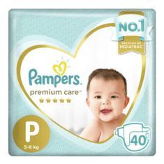 Imagem de Fralda Pampers Premium Care Tamanho P Mega 40 Unidades Peso Indicado 5 - 8kg