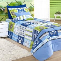 Imagem de Kit Edredom Solteiro Estampado 4 Peças  2,50m x 1,80m com Porta Travesseiro e Almofada Decorativa