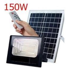 Imagem de Refletor Solar 150w Energia Sensor holofote Controle Remoto Led Iluminacao Luminária bateria