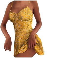Imagem de Vestido feminino casual de verão com estampa floral margarida, sem mangas, suspensório, aberto nas costas, vestido de praia casual, , XXG