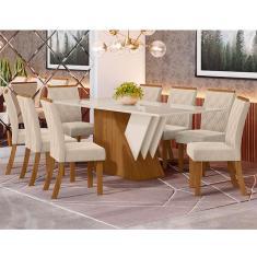 Imagem de Conjunto Sala Jantar Mesa Epic Tampo MDF com Vidro e 6 Cadeiras Vita Estofadas Henn
