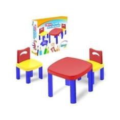 Imagem de Mesa Infantil com 2 Cadeiras Super Atividades Plastica - Simotoys 280
