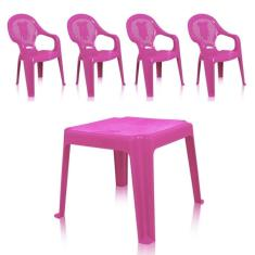 Imagem de Kit 1 Mesa 45X45cm E 4 Cadeiras Decoradas Teddy Infantil Rosa