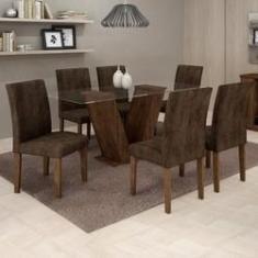 Imagem de Conjunto Sala de Jantar Mesa Tampo de Vidro 6 Cadeiras Classic Cel Móveis Chocolate/Animale Marrom