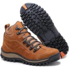 Imagem de Bota Adventure Tchwm Shoes Couro Palmilha Gel Duravel Laranja Escuro