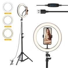 Imagem de Ring Light Tripé Iluminador Anel Luz Celular Selfie 2,10 M