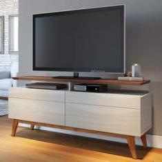 Imagem de Rack para TV até 55 Polegadas 2 Gavetas Classic Retrô 62,5cmx146cm Imcal Off White/Freijó