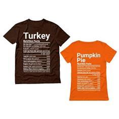 Imagem de Camisetas combinando para casais de Ação de Graças Peru Abóbora Funny Nutrition Facts, Marrom/feminino laranja, Men M / Women XL