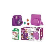 Kit Câmera Instantânea Fujifilm Instax Mini 9 Roxo Açai + 10 Fotos + Bolsa Especial Roxa
