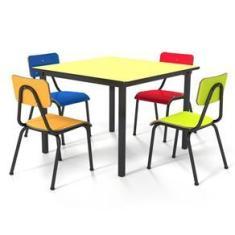 Imagem de Conjunto Escolar Infantil 80x80cm Colorido Mesa