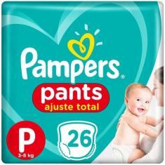 Fralda de Vestir Pampers Pants Ajuste Total Tamanho P 26 Unidades Peso Indicado 3 - 8 kg